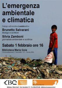 ATTUALITA' DELL'ENCICLICA LAUDATO SI'.  INCONTRO SU EMERGENZA CLIMATICA E AMBIENTALE