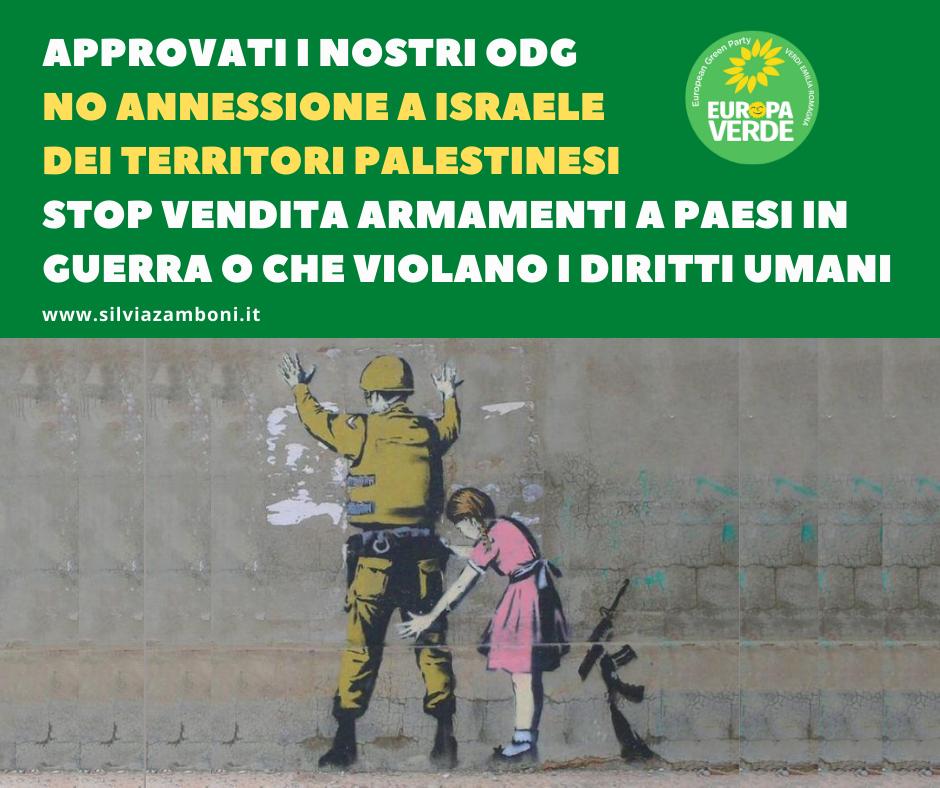 APPROVATE LE MIE DUE RISOLUZIONI: NO ANNESSIONE A ISRAELE DEI TERRITORI PALESTINESI E STOP VENDITA ARMAMENTI A PAESI IN GUERRA O CHE VIOLANO I DIRITTI UMANI