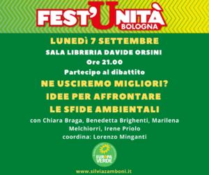 Stasera porterò la voce dei Verdi – Europa Verde Emilia-Romagna alla Festa dell'Unità di Bologna