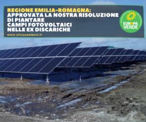 APPROVATA LA RISOLUZIONE DI EUROPA VERDE PER PIANTARE CAMPI FOTOVOLTAICI NELLE EX DISCARICHE