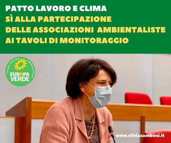 PATTO LAVORO E CLIMA, APRIRE I TAVOLI DI MONITORAGGIO ALLE ASSOCIAZIONI AMBIENTALISTE