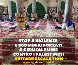 STOP A SGOMBERI FORZATI. STOP ALLA OCCUPAZIONE ISRAELIANA IN PALESTINA