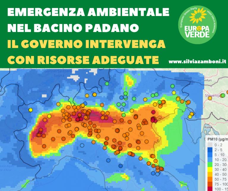 Emergenza ambientale nel bacino Padano: il governo intervenga con risorse adeguate